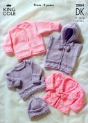 King Cole Baby Sweater, Hoodie & Cardigans Big Value Knitting Pattern 2884  DK