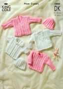 King Cole Baby Sweater, Cardigan & Hat Big Value Knitting Pattern 2885  DK