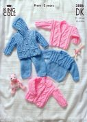 King Cole Baby Sweater, Jacket, Trousers & Cardigan Big Value Knitting Pattern 2886  DK
