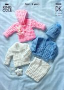 King Cole Baby Jacket, Cardigan, Slipover & Hat Big Value Knitting Pattern 2888  DK