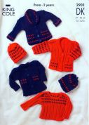 King Cole Baby Cardigans, Sweater & Hat Big Value Knitting Pattern 2902  DK