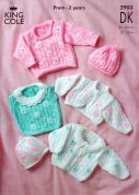 King Cole Baby Cardigan, Sweater, Top, Bolero & Hat Big Value Knitting Pattern 2903  DK