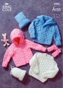 King Cole Baby Sweater, Jacket, Mitts & Hat Big Value Knitting Pattern 2905  Aran