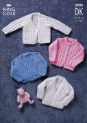 King Cole Baby Cardigans Big Value Knitting Pattern 2908  DK