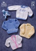 King Cole Baby Sweaters & Cardigans Big Value Knitting Pattern 2909  DK