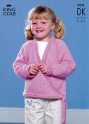 King Cole Girls Sweater, Bolero & Cardigan Smooth Knitting Pattern 2911  DK
