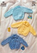 King Cole Baby Sweaters & Cardigans Big Value Knitting Pattern 2912  DK
