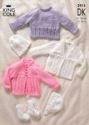 King Cole Baby Sweater, Cardigans, Hat & Booties Big Value Knitting Pattern 2913  DK