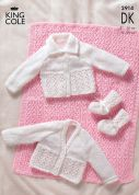 King Cole Baby Pram Cover, Cardigans & Booties Knitting Pattern 2914  DK