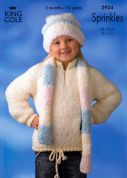 King Cole Childrens Sweater Sprinkles Knitting Pattern 2924  Chunky