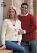King Cole Ladies & Mens Jacket & Sweater Big Value Knitting Pattern 2935  DK