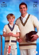 King Cole Men & Boys Cricket Sweaters Merino Knitting Pattern 2940  DK