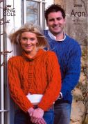 King Cole Ladies & Mens Sweater & Jacket Fashion Knitting Pattern 2944  Aran