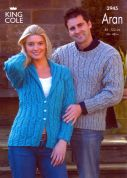 King Cole Ladies & Mens Sweater & Jacket Fashion Knitting Pattern 2945  Aran