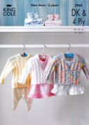 King Cole Baby Cardigan & Sweater Big Value Knitting Pattern 2961  4 Ply, DK