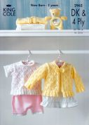 King Cole Baby Cardigan & Top Big Value Knitting Pattern 2962  4 Ply, DK