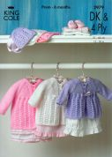 King Cole Baby Matinee Coat & Bonnet Big Value Knitting Pattern 2979  4 Ply, DK