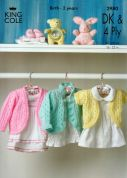 King Cole Baby Cardigans Big Value Knitting Pattern 2980  4 Ply, DK