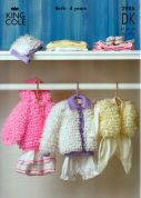 King Cole Baby Loopy Jackets, Hat & Bolero Comfort Knitting Pattern 2985  DK