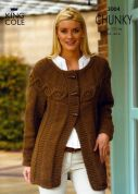 King Cole Ladies Jacket & Sweater Dress Magnum Knitting Pattern 3004  Chunky