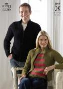 King Cole Ladies & Mens Jackets & Tops Knitting Pattern 3017  DK