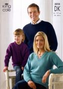 King Cole Family Sweater & Cardigan Merino Knitting Pattern 3018  DK