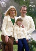 King Cole Family Sweaters & Cardigan Merino Blend Knitting Pattern 3019  Aran