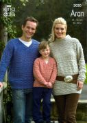 King Cole Family Sweaters & Cardigan Merino Blend Knitting Pattern 3020  Aran