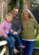 King Cole Family Sweater, Cardigan & Hooded Jacket Merino Blend Knitting Pattern 3023  Aran