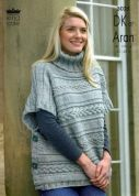 King Cole Ladies Capes Fashion Knitting Pattern 3025  DK, Aran