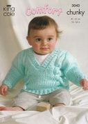 King Cole Baby Jacket, Sweater & Hat Comfort Knitting Pattern 3043  Chunky
