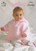 King Cole Baby Blanket, Jacket, Cape & Toy Rabbit Comfort Knitting Pattern 3046  Chunky