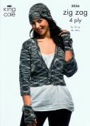 King Cole Ladies Cardigan, Tank Top & Accessories Zig Zag Knitting Pattern 3056  4 Ply