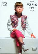 King Cole Childrens Waistcoat, Tank Top & Accessories Zig Zag Knitting Pattern 3057  4 Ply