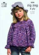 King Cole Girls Tops, Fingerless Gloves & Hat Zig Zag Knitting Pattern 3058  4 Ply