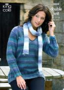 King Cole Ladies Sweater, Waistcoat & Scarf Knitting Pattern 3059  DK