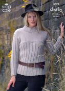 King Cole Ladies Sweater & Jacket Magnum Knitting Pattern 3073  Chunky