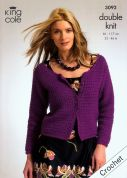 King Cole Ladies Slipover & Cardigan Merino Crochet Pattern 3092  DK