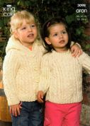 King Cole Childrens Sweater, Coat & Hooded Jacket Fashion Knitting Pattern 3098  Aran
