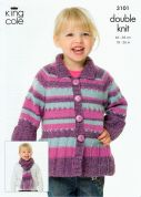 King Cole Childrens Coat, Sweater & Scarf Knitting Pattern 3101  DK