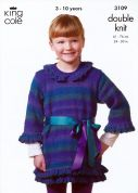 King Cole Girls Cardigan & Tunic Knitting Pattern 3109  DK