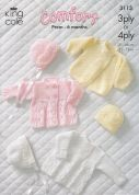 King Cole Baby Jacket, Coat, Bonnet & Hat Comfort Knitting Pattern 3113  3 Ply, 4 Ply