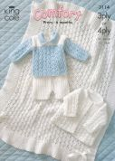 King Cole Baby Jacket, Shawl, Sweater & Shorts Comfort Knitting Pattern 3114  3 Ply, 4 Ply