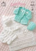 King Cole Baby Coat, Cardigan, Bonnet, Hat & Pram Cover Comfort Knitting Pattern 3115  4 Ply, DK