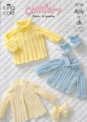 King Cole Baby Sweater, Dress, Coat & Booties Comfort Knitting Pattern 3116  4 Ply, DK