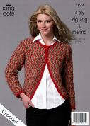 King Cole Ladies Cardigans Zig Zag Crochet Pattern 3122  4 Ply