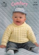 King Cole Baby Coat, Cardigan, Sweater & Hat Comfort Knitting Pattern 3135  Aran