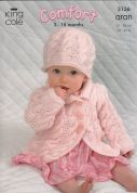 King Cole Baby Coat, Dress, Sweater & Hat Comfort Knitting Pattern 3136  Aran