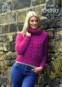 King Cole Ladies Cardigan & Sweater Magnum Knitting Pattern 3142  Chunky