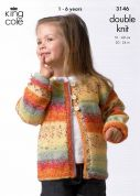 King Cole Childrens Sweater & Cardigan Splash Knitting Pattern 3146  DK
